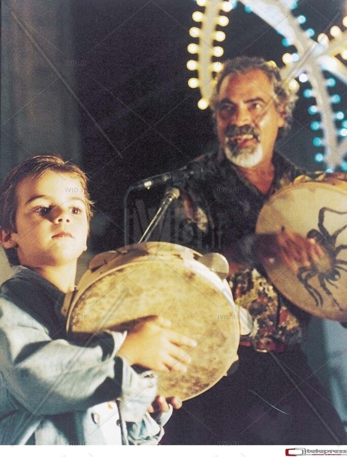 Pino Zimba con i figli alla Notte della Taranta 2005